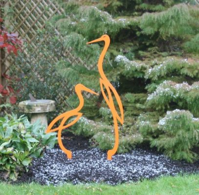 Orange heron scuptures