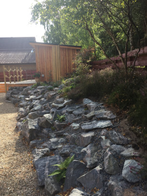 Naturally sloping dry river bed