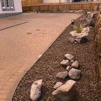 Dry-river beds with planting